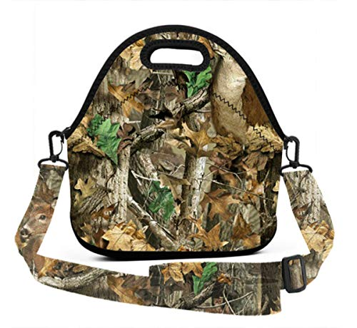 Camo Deer Camouflage Hunting Neoprene Lunch Bag Insulated Lunch Tote Bag with 3D Printed Strap for Women Men Adult Kids Teens Boys Teenage Girls toddlers -
