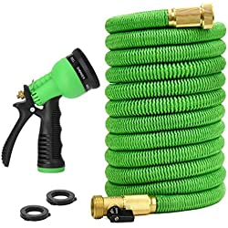 Glayko Tm 50 Feet Expandable Garden Hose - NEW 2018 Super Strong Construction- Strong Webbing -Solid Brass End + 8 Function Spray Nozzle and Shut-off Valve