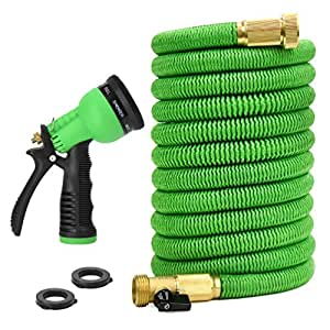 Glayko Tm 25 Feet Expandable Garden Hose - NEW 2018 Super Strong Construction- Strong Webbing -Solid Brass End + 8 Function Spray Nozzle and Shut-off Valve