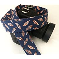 Pink Feathers on Navy Blue - SLR / dSLR Camera Strap - Nikon / Canon / Sony / Olympus / Samsung / Pentax