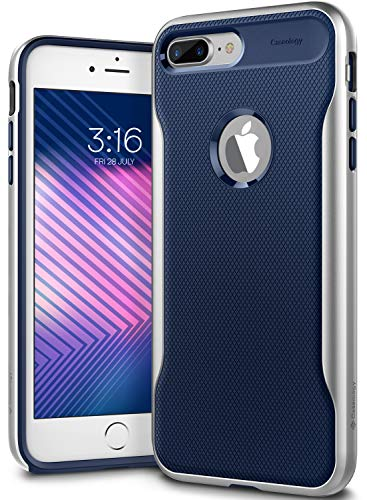 Solid Dark Blue Case Cover - Caseology for iPhone 8 Plus case [Apex Series] - Slim Fit Shockproof Heavy Duty Hard Bumper Textured Geometric Design Case for iPhone 8 Plus Only - Navy Blue