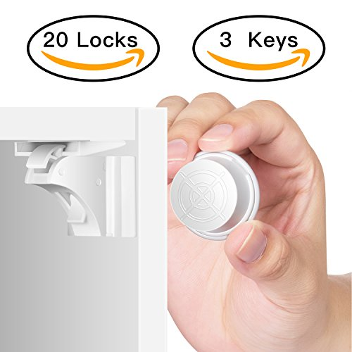 Baby Safety Magnetic Cabinet Locks Cupboard Lock for Cabinets and Drawers Child Proof - Sherry Kids Toddler Products(3 KEYS & 20 Locks)
