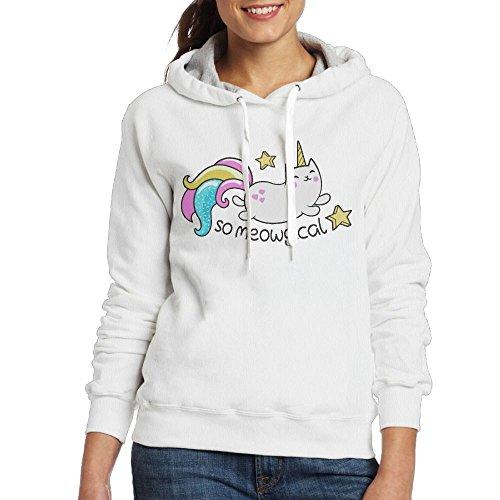 Grhoodie1 So Meowgical Cute Unicorn Kitty Women's Soft Long Sleeve Pullover Hooded Sweatshirt White Size XL White