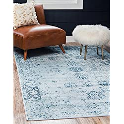 Unique Loom Sofia Collection Traditional Vintage Light Blue Area Rug (4' x 6')