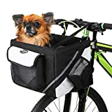 Lixada Bike Basket, Small Pet Cat Dog Carrier Bike Handlebar Front Basket – Folding Detachable Removable Easy Install Quick Released Cycling Picnic Shopping, Max Bearing: 15 lbs