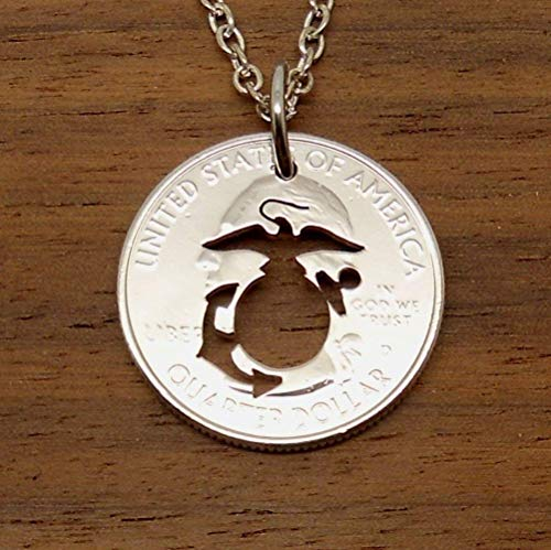 Marine Corps USMC Pendant Necklace or Key Ring Made From A US Quarter