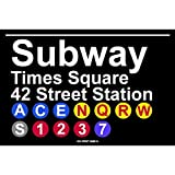 Subway Times Square 42 Street Station NYC Aluminum Tin Metal Poster Sign Wall Decor 12x18