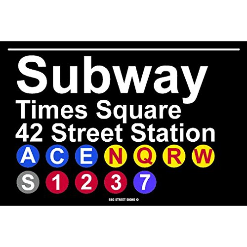 Subway Times Square 42 Street Station NYC Aluminum Tin Metal Poster Sign Wall Decor (Subway Sign)