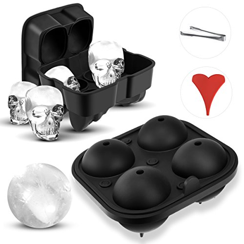 Uarter Ice Cube Trays Round Sphere Mold with 3D Skull Ice Mold Large 2.5 Inches Silicone Ice Ball Maker with Lid Funnel and Ice Tongs, Reusable and BPA Free, Black