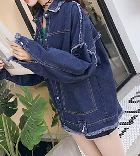 Embroidered Relaxed Casual Turn Denim Blue Mogogo Dark Down Jackets Collar Women's Hxq15wU4