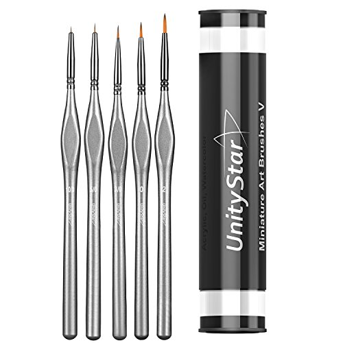 Miniature Paint Brushes, UnityStar Set of 5 Detail Paint Brushes with Plastic Holder for Warhammer 40k, Acrylic, Watercolor, Oil, Art and Face Painting