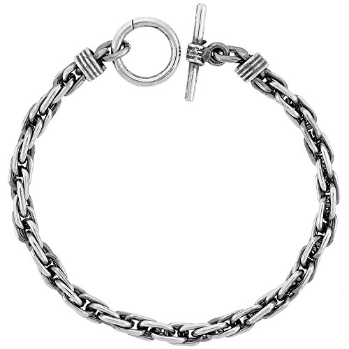 Sterling Silver Handmade Long Rope Bracelet Toggle Clasp Handmade 1/4 inch wide, 9 inch