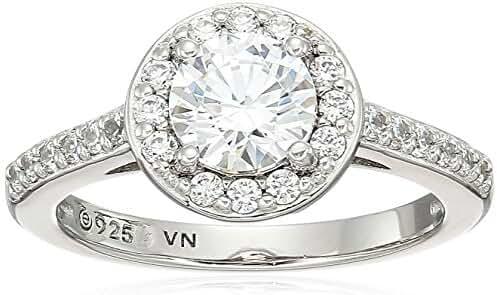 Platinum Plated Sterling Silver Swarovski Zirconia Round Cut Halo Ring