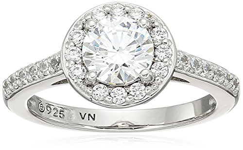 Platinum Plated Sterling Silver Swarovski Zirconia Round Cut Halo Ring, Size ()