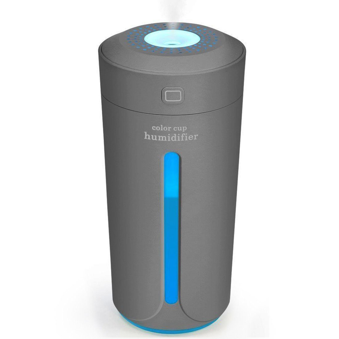 MJDUO Travel Humidifier Cup,Portable Mini Humidifier for Cars Office Desk Home Babies kids Bedroom. Air Humidifiers Purifier 7 Color LED Lights Ultrasonic USB No Noise(Gray)