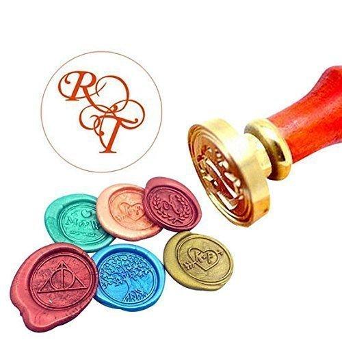 Kooer Custom Personalized Wedding Monogram Wax Seal Stamp Customize Initials Sealing Wax Stamp Kit Nme Wax Stamp Custom Initial Date Wedding Invitation Wax Seal Kit Personalized Stamp Sealing Stamp by Weddingifts