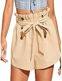 SweatyRocks - Pantalones Cortos de Playa con Bolsillos y Cintura elástica para Mujer, Caqui, XS