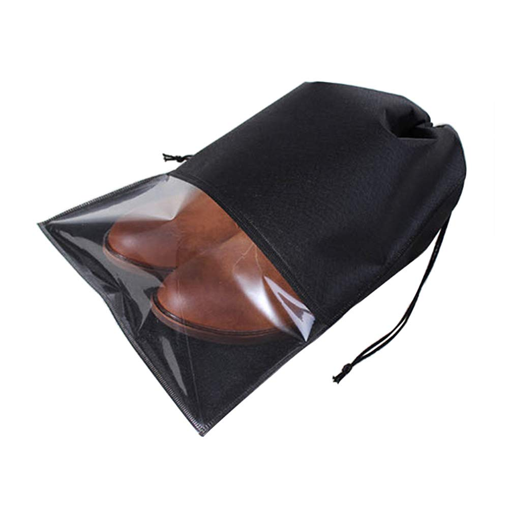 UXUAN Travel Shoe Bags with Drawstring and Clear Window Waterproof Dust-proof Non-woven Storage Bags for Men (10 Pcs,Black,Large)