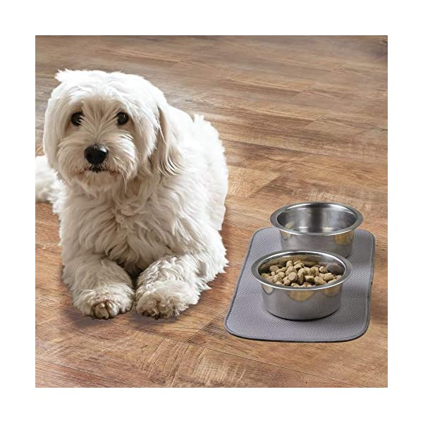 mDesign Premium Quality Microfiber Polyester Pet Food and Water Bowl Feeding Mat for Dogs - Ultra Absorbent Reversible Placemat - Folds for Compact Storage - Small 3