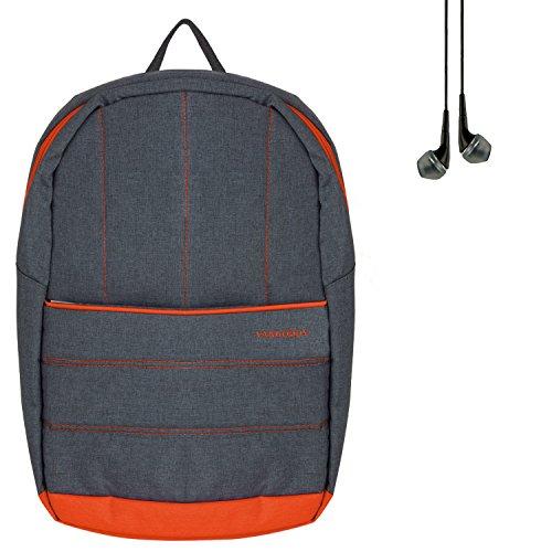 Price comparison product image ECCRIS VanGoddy 15.6-inch Universal Grove Laptop Backpack for Lenovo Ideapad Y700 80NV005NUS + Black Headphone (Grey/Orange)