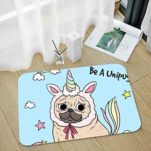 SAMCUSTOM Door Mat Indoor Super Absorbs Mud Doormat Small Front Door Mats Non Slip Entrance Rug 15.7''X23.6'' - Funny Pug Unicorn -