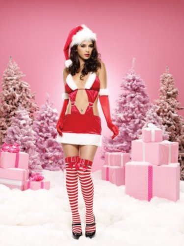 Leg Avenue Naughty List Vixen, velvet cut out mini dress w/rhinestone buckle