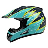 quad helmets for youth - PGR X25 Youth 360 Motocross MX BMX Dirt Bike Dune Buggy Enduro ATV Quad Off Road (Youth Large, Teal Yellow)