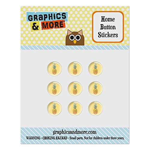 (Set of 9 Puffy Bubble Home Button Stickers Fit Apple iPod Touch, iPad Air Mini, iPhone 4/4s 5/5c/5s 6/6s Plus - Summer Party Celebration BBQ - Pineapple on Yellow Background)