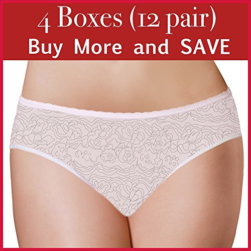 PantiePads Disposable Period Panties with Built-in Pad (12 PACK) Menstrual Underwear (3 boxes of 4 pc) (Large)