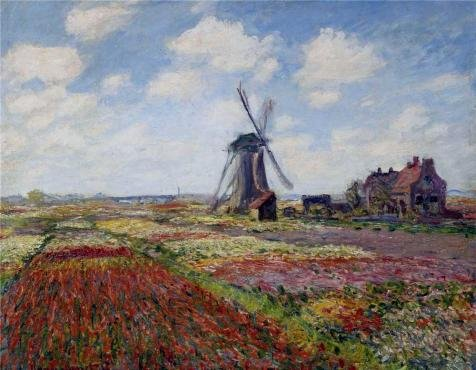Perfect Effect Canvas ,the Best Price Art Decorative Prints On Canvas Of Oil Painting 'Tulip Fields With The Rijnsburg Windmill, 1886 By Claude Monet', 16x21 Inch / 41x52 Cm Is Best For Powder Room Decoration And Home Artwork And Gifts