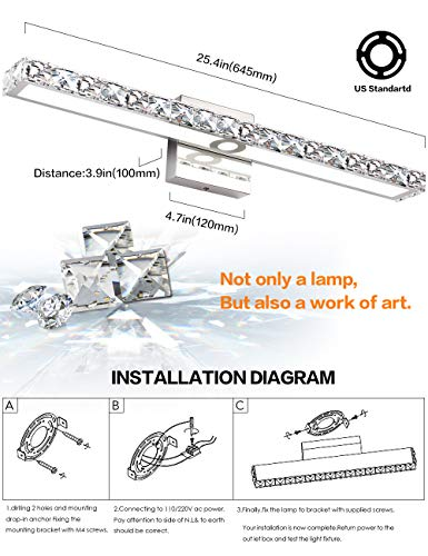 SOLFART LED Vanity Lights Over Mirror,25.4 inch 24W,Crystal Wall Lights for Bathroom Lighting Fixtures - 1.SAFETY : CE / ROHS/ QCQ certificated. FCC for the driver, IP44 waterproof and dust proof capacity. 2.EASY TO INSTALL: No switch or cord on the light. JUST Connect to the reserved wire directly,Suitable US junction box standard. 3.ENERGY SAVING: 24W LED Mirror Front Light / Warm White Light. Although only 24W, but he offers brightness more than ordinary 80W bulbs - bathroom-lights, bathroom-fixtures-hardware, bathroom - 514156zs%2BEL -