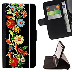 DEVIL CASE - FOR Sony Xperia Z1 Compact D5503 - Vintage Retro Heritage Floral Pattern - Style PU Leather Case Wallet Flip Stand Flap Closure Cover