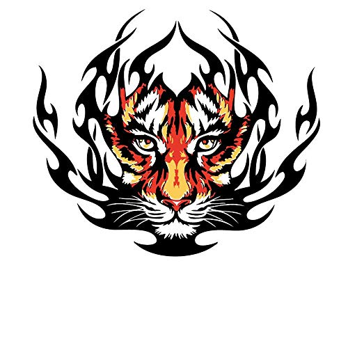 HMQD Trendy Patches Clothes Animal Stickers Cool Burning Tiger Iron-on Patch DIY Heat Transfer Decoration Appliqued Christmas -