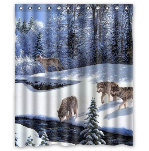Wolf Pack in Winter Shower Curtain