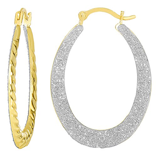 10k 2 Tone Yellow And White Gold Glitter Oval Hoop Earrings, Diameter 20mm ()