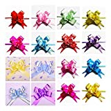 """Ewandastore Christmas Gift Pull Bows-200pcs Assorted Colors Gift Wrapping Christmas Wedding Decoration Pull Bows (Length 14.17"""" Width 0.63"""")"""