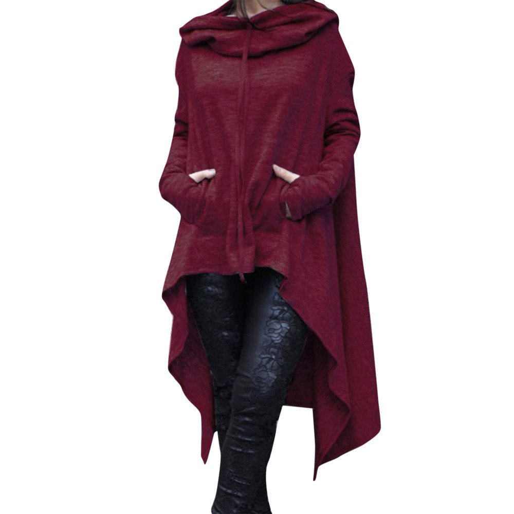 Women's Hoodies Sweatshirt,Thenlian Hooded Sweatshirt Solid Hoodie Long Sleeve Pullover irregular Pockets Drawstring Jumper Tops Blouse Crop sweater(XXXXL, Wine ) by Thenlian Hoodies Sweatshirt 5