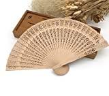 50Pcs/Lot 20Cm Elegant Hand Fans Supplies Aromatic Wood Pocket Folding Hand Fan Carved Wedding Decor