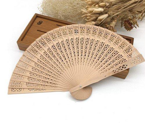 50Pcs/Lot 20Cm Elegant Hand Fans Supplies Aromatic Wood Pocket Folding Hand Fan Carved Wedding Decor by Hand Fan