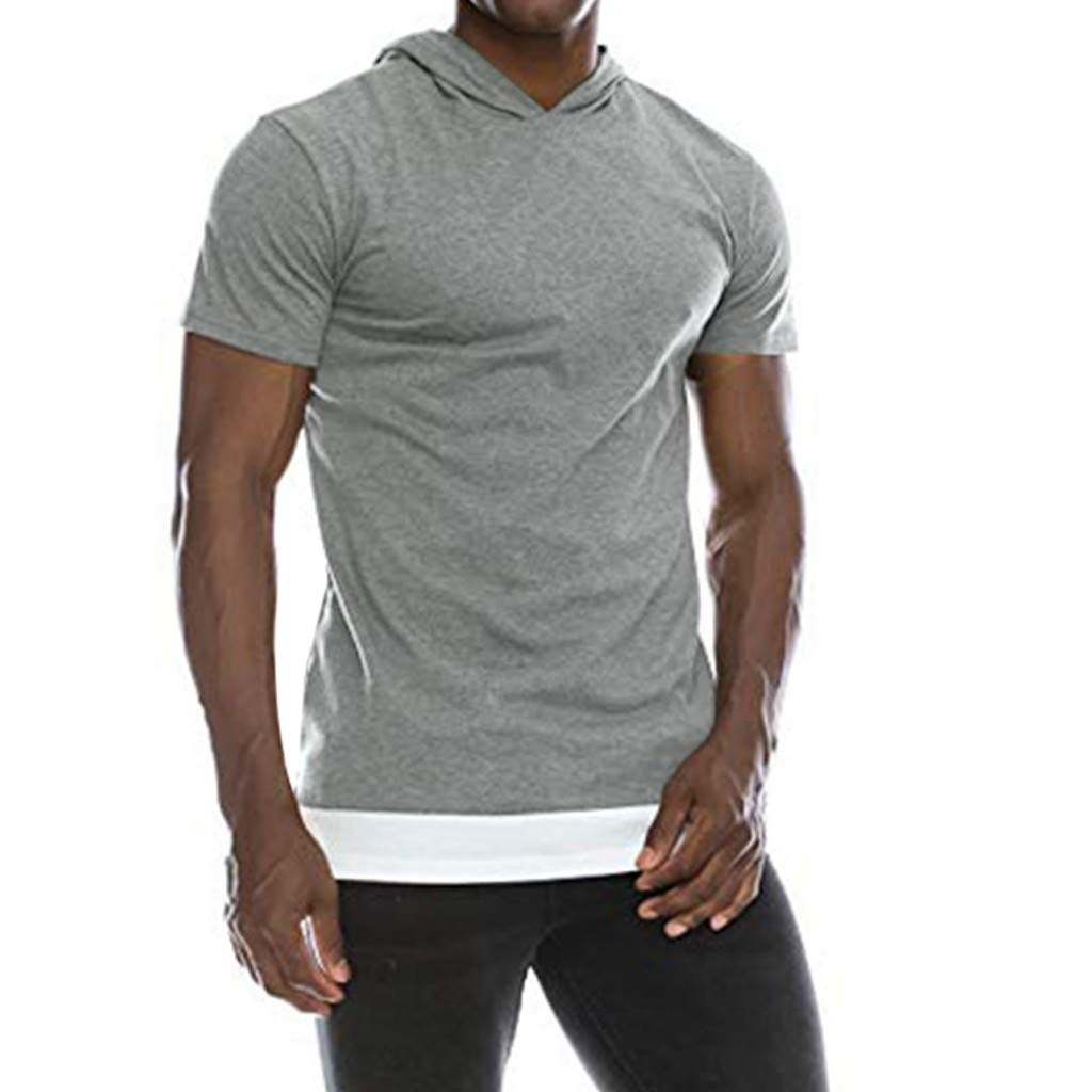 Allywit Short Sleeve Raglan Hooded Henley Round Bottom Activewear Fashion Hoodie