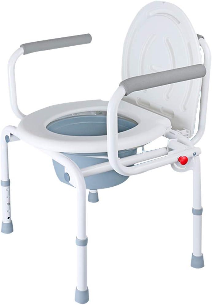 ドロップアーム ベッドサイド便器椅子 3 in 1 メディカル ハンディキャップ 便座 障害者、高齢者向け 滑り止めレッグパッド付き バケット/蓋 安全スチールフレーム