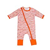 GOTD Newborn Baby Boy Girl Floral Zipper Long Sleeve Romper Jumpsuit Outfits Clothes (3 Months, Orange)