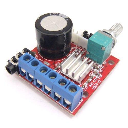 DROK - Amplificador de audio digital de alta fidelidad de 10 W + 10 W, amplificador de audio digital dual AMP estéreo DC7.5...