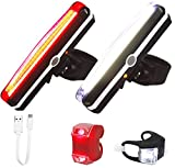 Uoobeetryy Set of 4 Ultra Bright LED Bicycle Rear Lights Front and Back USB Rechargeable Bike Tail Light Easy Installation Waterproof Headlight & Taillight for Cycling Safety Flashlight