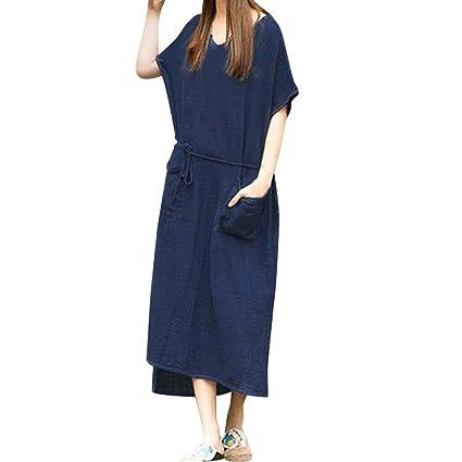 STRIR Mujer Sexy Vestido de Fiesta Manga Corta Verano Elegante Bolsillo Irregular Maxi Vestido de Noche