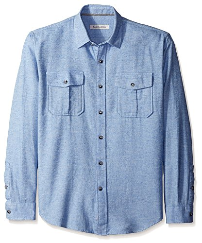 Campbell Flannel - James Campbell Men's Zahar Flannel Long Sleeve Shirt, Blue, S