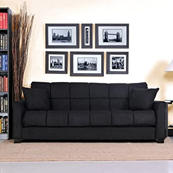 Baja Convert-a-couch and Sofa Bed, Black, Stylish and Comfortable Sofa
