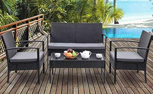Luca Outdoor- Sunroom Furniture- Out Door Patio Furniture- Black Rattan Wicker Steel Framed Four Piece Cushioned - Great for Summer Barbecues, Garden Parties, and Afternoons Spent Lounging