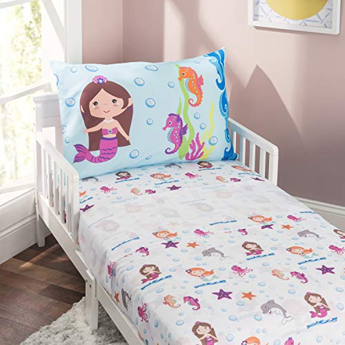 EVERYDAY KIDS 3-Piece Toddler Fitted Sheet, Flat Sheet and Pillowcase Set - Mermaids Undersea Adventure - Soft Microfiber, Breathable and Hypoallergenic Toddler Sheet Set