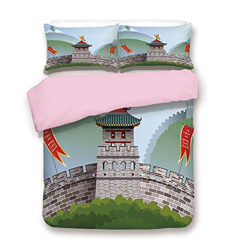 Hill Euro Quilt - iPrint Pink Duvet Cover Set,Queen Size,Cartoon Great Wall of China Curvy Design Flag Hills Greenery Decorative,Decorative 3 Piece Bedding Set with 2 Pillow Sham,Best Gift for Girls Women,Multicolor